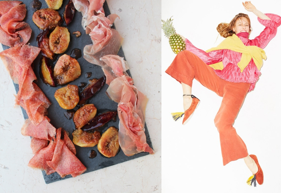 Fashion vs Food: Caramellized Figs Plums with Ham and Parmesan flakes Vs StellaJean