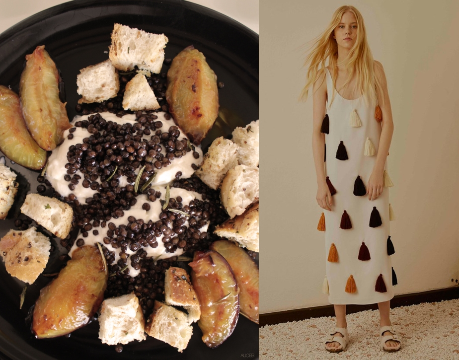 Fashion Vs Food: Fresh cheese, lentils and plums salad vs Au jur le jur